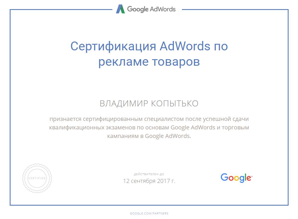 Сертификат специалиста по AdWords
